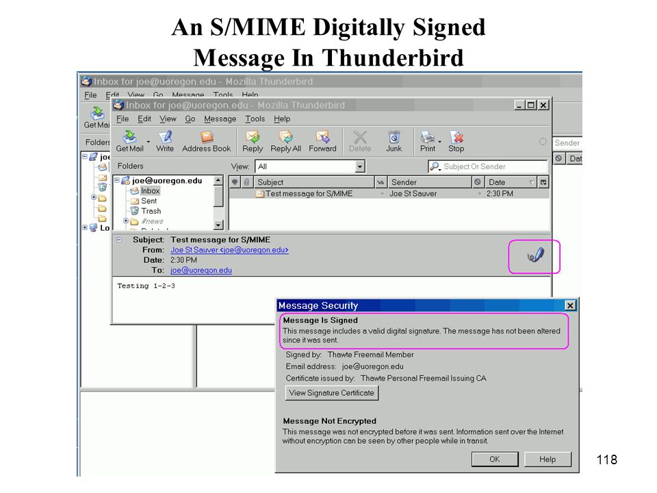 118 An S/MIME Digitally Signed Message In Thunderbird