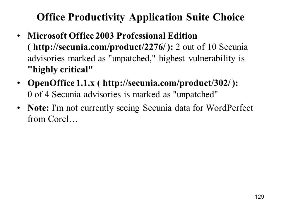 129 Office Productivity Application Suite Choice Microsoft Office 2003 Professional Edition ( http://secunia.com/product/2276/ ): 2 out of 10 Secunia advisories marked as unpatched, highest vulnerability is highly critical OpenOffice 1.1.x ( http://secunia.com/product/302/ ): 0 of 4 Secunia advisories is marked as unpatched Note: I m not currently seeing Secunia data for WordPerfect from Corel…