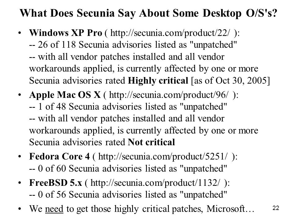 22 What Does Secunia Say About Some Desktop O/S s.