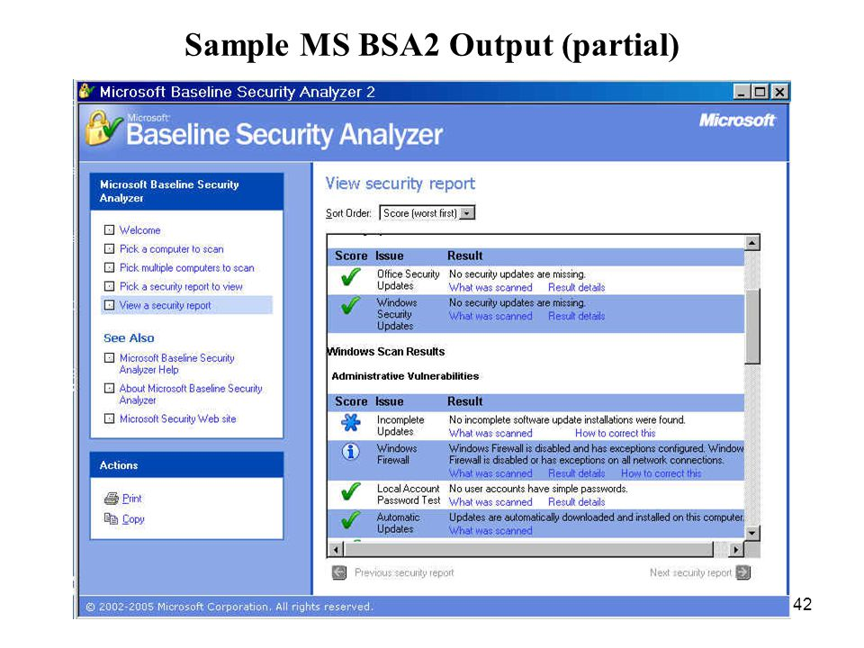42 Sample MS BSA2 Output (partial)