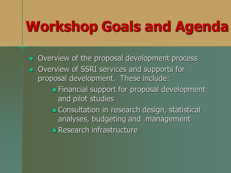 Workshop Goals and Agenda Overview of the proposal development process Overview of the proposal development process Overview of SSRI services and supports for proposal development.