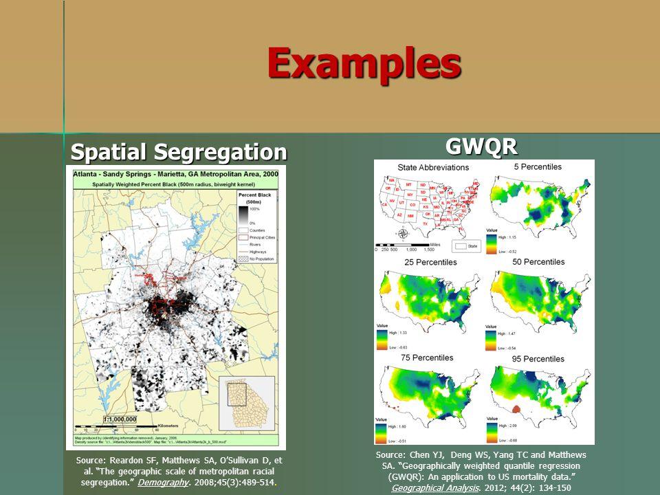 Examples Spatial Segregation GWQR Source: Reardon SF, Matthews SA, OSullivan D, et al. The geographic scale of metropolitan racial segregation. Demogr