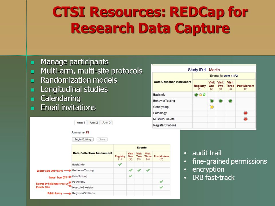 CTSI Resources: REDCap for Research Data Capture Manage participants Manage participants Multi-arm, multi-site protocols Multi-arm, multi-site protoco