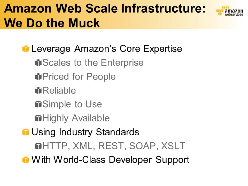 Amazon Web Scale Infrastructure: We Do the Muck Leverage Amazons Core Expertise Scales to the Enterprise Priced for People Reliable Simple to Use Highly Available Using Industry Standards HTTP, XML, REST, SOAP, XSLT With World-Class Developer Support