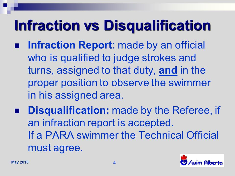 May 2010 5 Swimmers with a Disability (PARA) Swimmers classification and exceptions allow exceptions to some rule requirements.