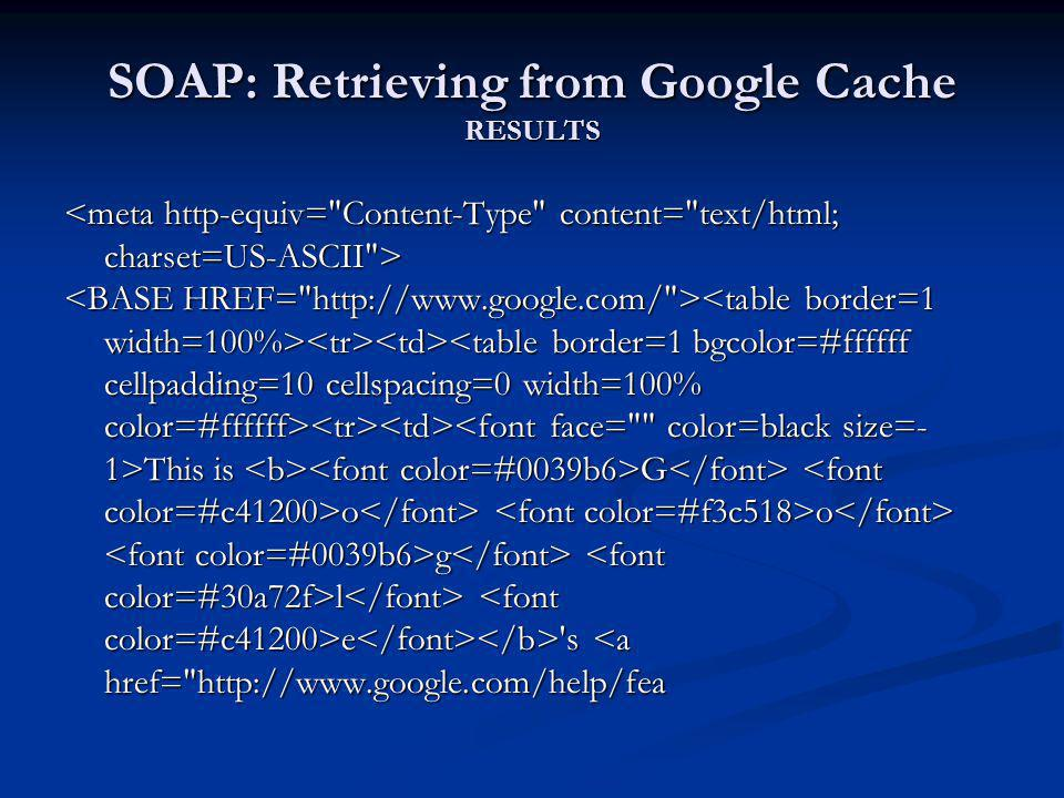 SOAP: Retrieving from Google Cache RESULTS This is G o o g l e 's This is G o o g l e 's <a href=