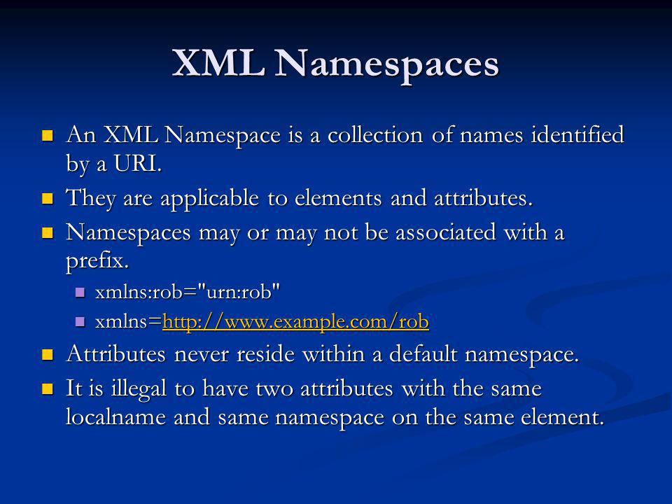 XML Namespaces An XML Namespace is a collection of names identified by a URI. An XML Namespace is a collection of names identified by a URI. They are