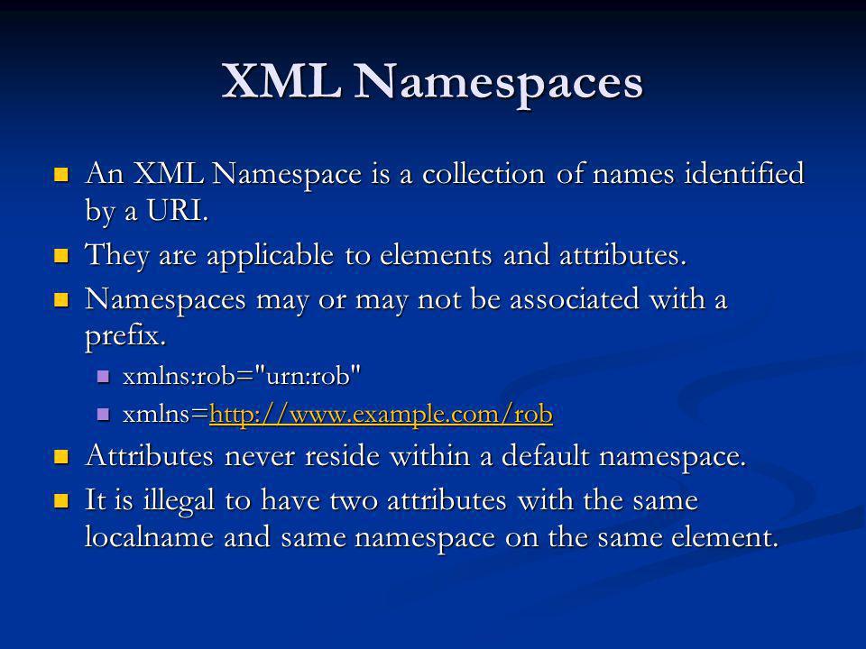 DOM and Namespaces <xsd:complexType xmlns:xsd= http://www.w3.org/2001/XMLSchema xmlns:xsd= http://www.w3.org/2001/XMLSchema xmlns:wsdl= http://schemas.xmlsoap.org/wsdl/ xmlns:wsdl= http://schemas.xmlsoap.org/wsdl/ name= ArrayOfint > name= ArrayOfint > <xsd:attribute ref= soapenc:arrayType <xsd:attribute ref= soapenc:arrayType wsdl:arrayType= xsd:int[ ] /> wsdl:arrayType= xsd:int[ ] /> </xsd:complexType>