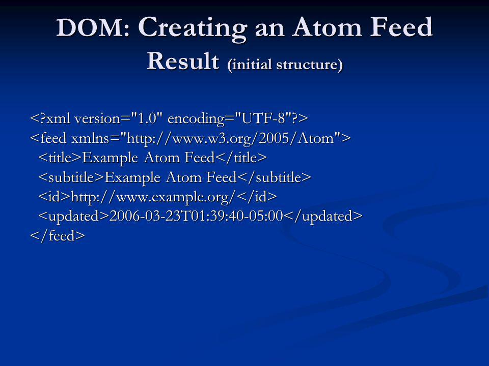 DOM: Creating an Atom Feed Result (initial structure) Example Atom Feed Example Atom Feed http://www.example.org/ http://www.example.org/ 2006-03-23T0