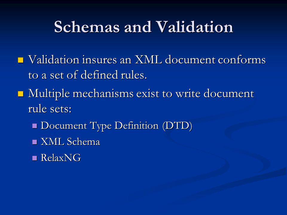 Document Type Definition (DTD) validation/courses-dtd.xml <!DOCTYPE courses [ ]> Basic Languages Introduction to Languages 1.5 2004-09-01T11:13:01...