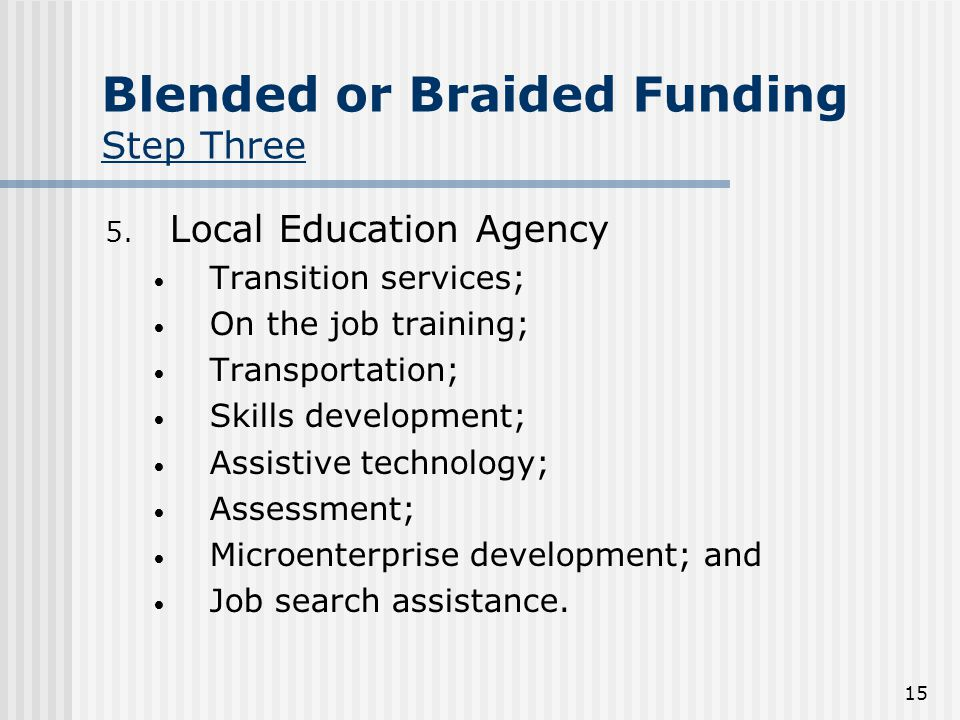 15 Blended or Braided Funding Step Three 5.