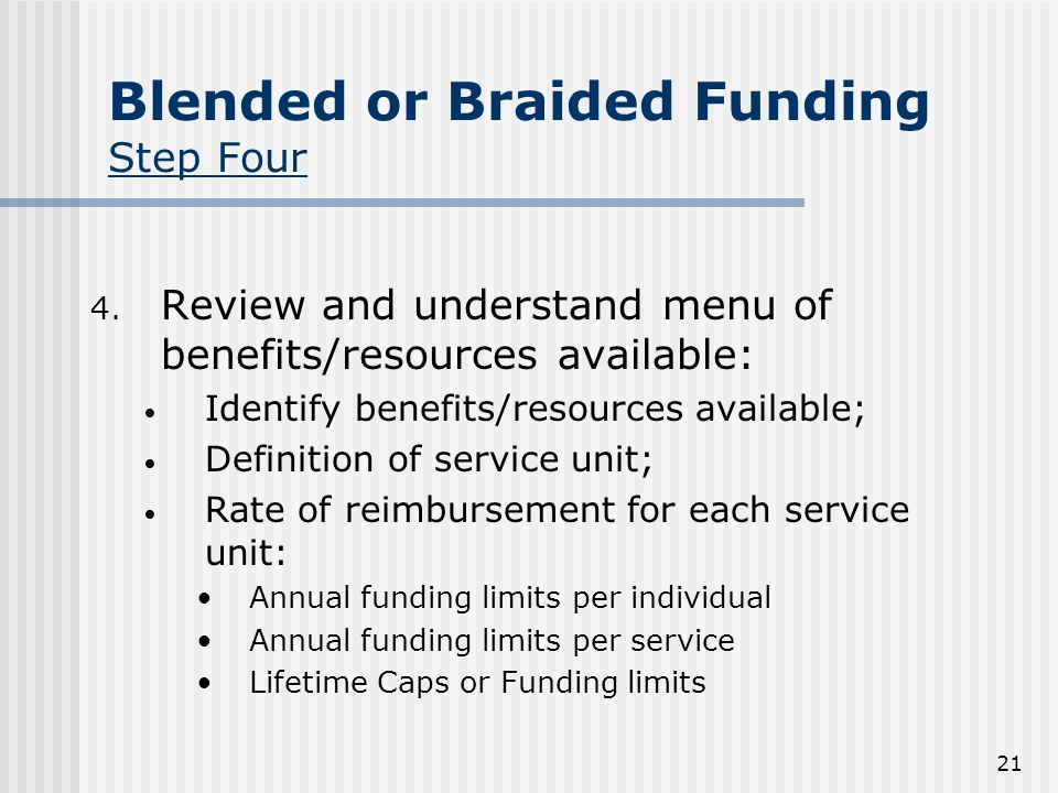 21 Blended or Braided Funding Step Four 4.