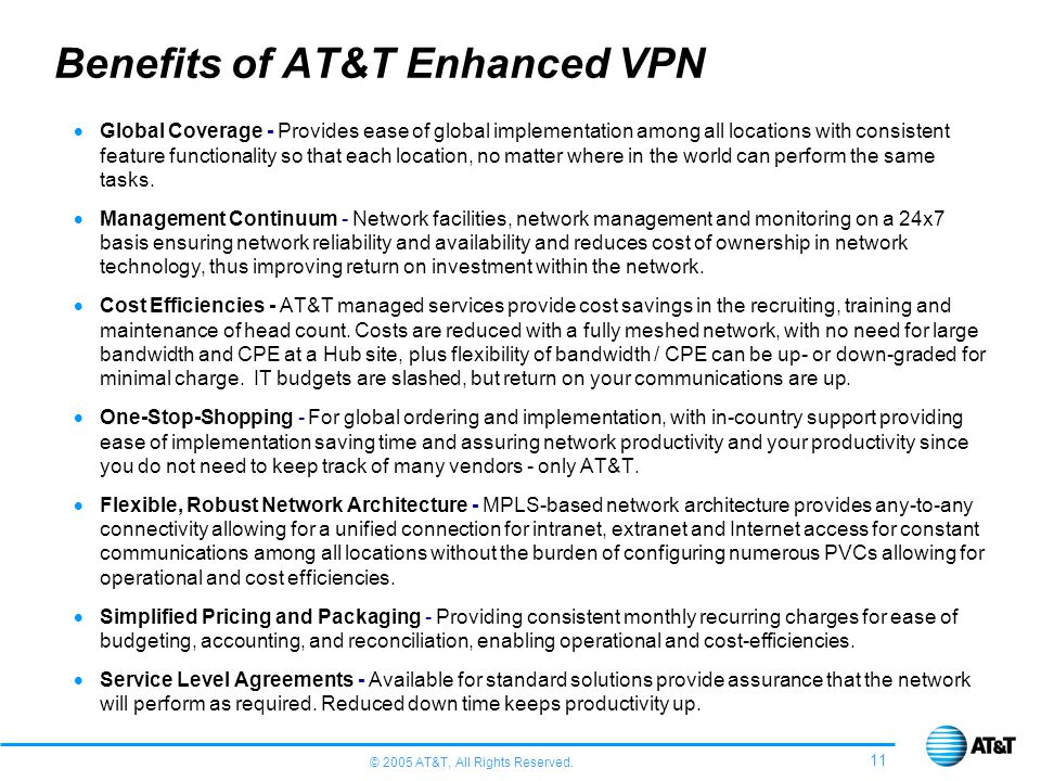 © 2005 AT&T, All Rights Reserved. 11 Benefits of AT&T Enhanced VPN Global Coverage - Provides ease of global implementation among all locations with c