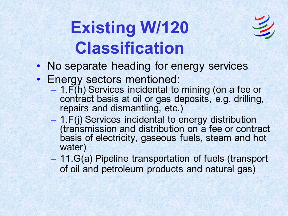 Existing W/120 Classification No separate heading for energy services Energy sectors mentioned: –1.F(h) Services incidental to mining (on a fee or contract basis at oil or gas deposits, e.g.