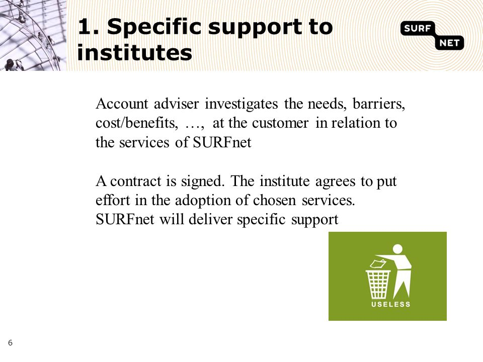 6 1. Specific support to institutes Account adviser investigates the needs, barriers, cost/benefits, …, at the customer in relation to the services of