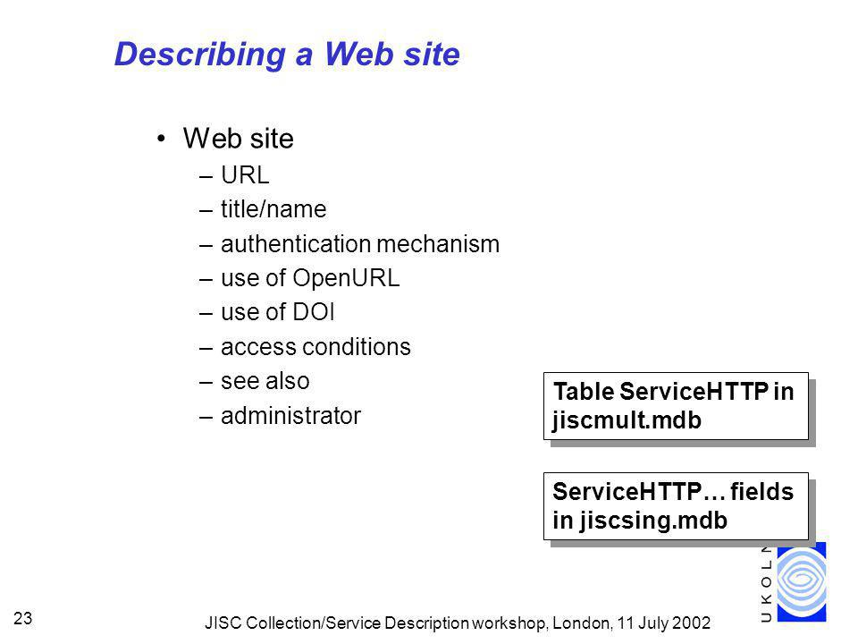 JISC Collection/Service Description workshop, London, 11 July 2002 23 Describing a Web site Web site –URL –title/name –authentication mechanism –use of OpenURL –use of DOI –access conditions –see also –administrator Table ServiceHTTP in jiscmult.mdb ServiceHTTP… fields in jiscsing.mdb
