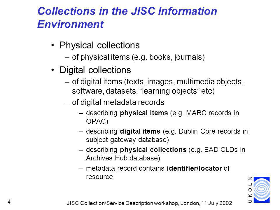 JISC Collection/Service Description workshop, London, 11 July 2002 4 Collections in the JISC Information Environment Physical collections –of physical items (e.g.