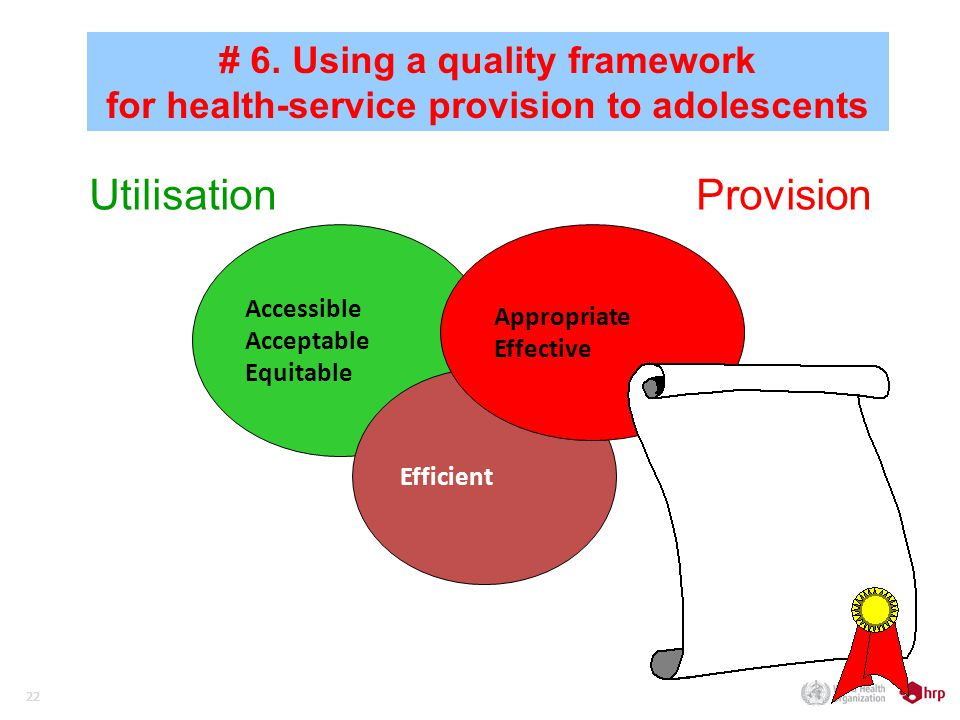 22 Accessible Acceptable Equitable Efficient Appropriate Effective ProvisionUtilisation # 6.