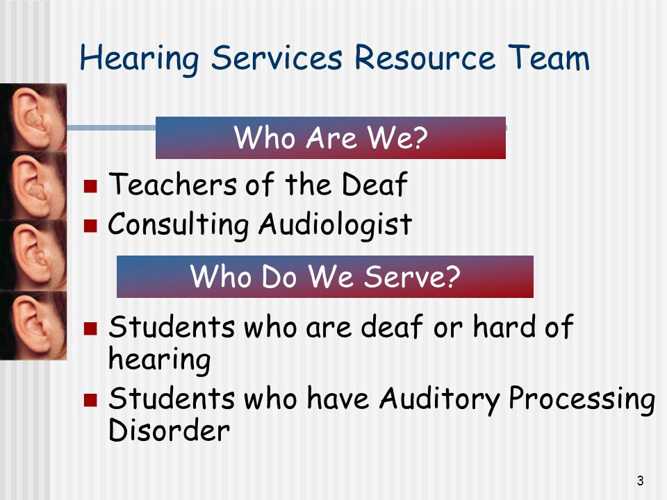 3 Hearing Services Resource Team Teachers of the Deaf Consulting Audiologist Students who are deaf or hard of hearing Students who have Auditory Processing Disorder Who Are We.