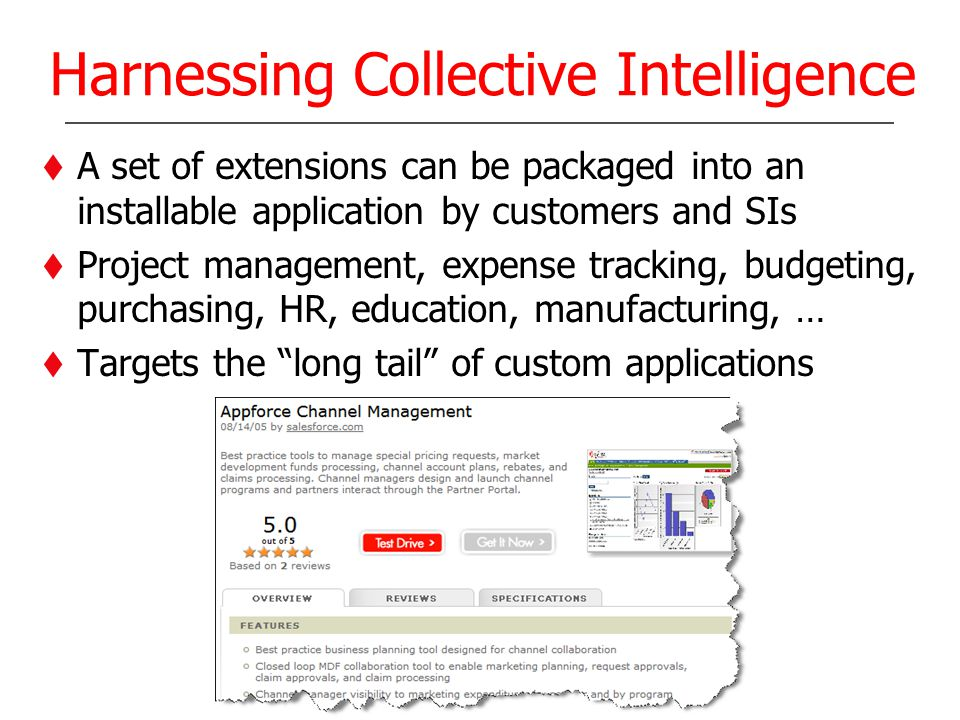 Harnessing Collective Intelligence A set of extensions can be packaged into an installable application by customers and SIs Project management, expens