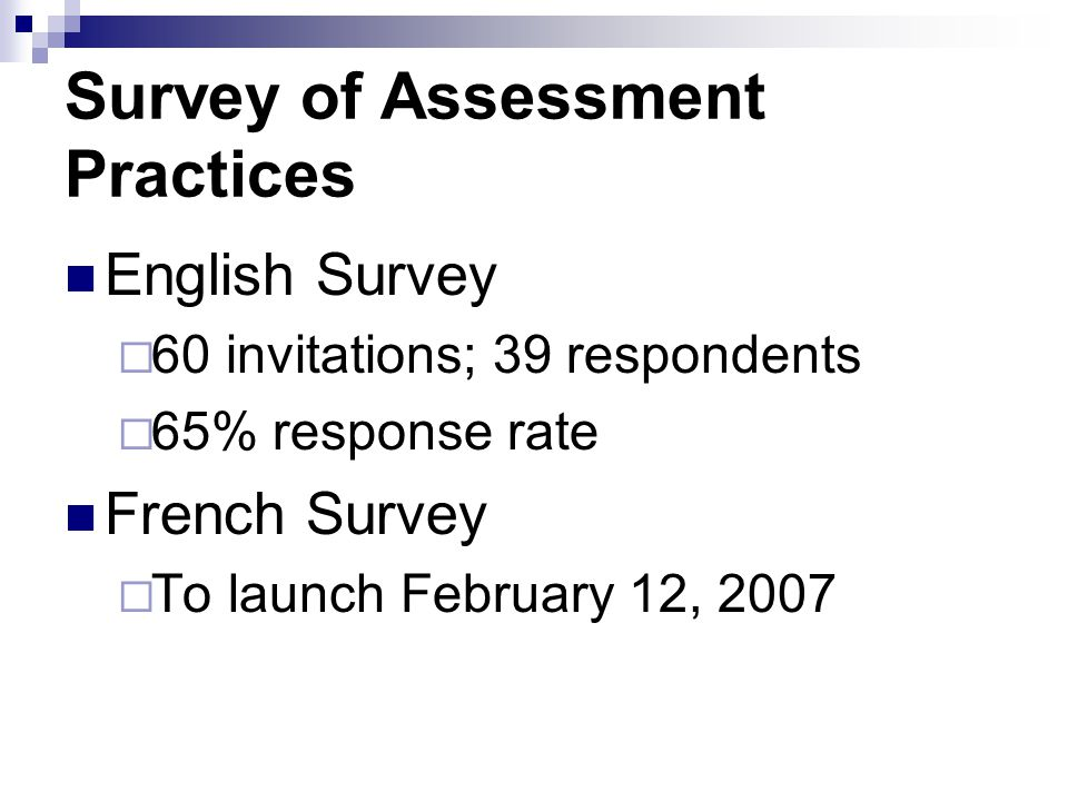 Survey of Assessment Practices English Survey 60 invitations; 39 respondents 65% response rate French Survey To launch February 12, 2007