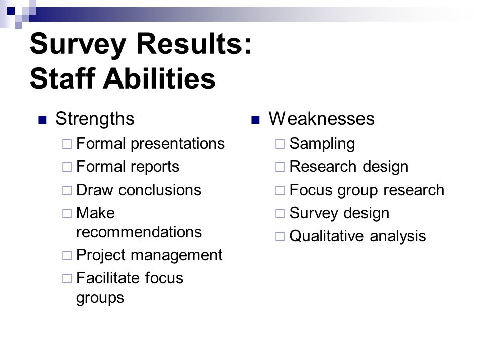Survey Results: Staff Abilities Strengths Formal presentations Formal reports Draw conclusions Make recommendations Project management Facilitate focus groups Weaknesses Sampling Research design Focus group research Survey design Qualitative analysis