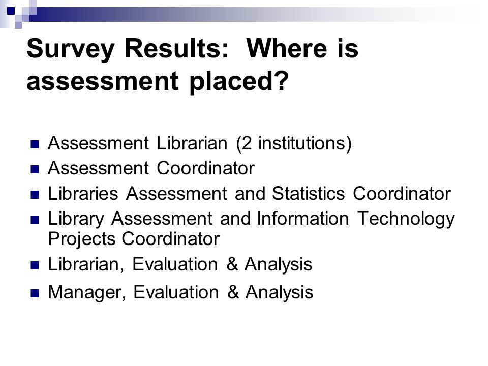 Survey Results: Where is assessment placed.
