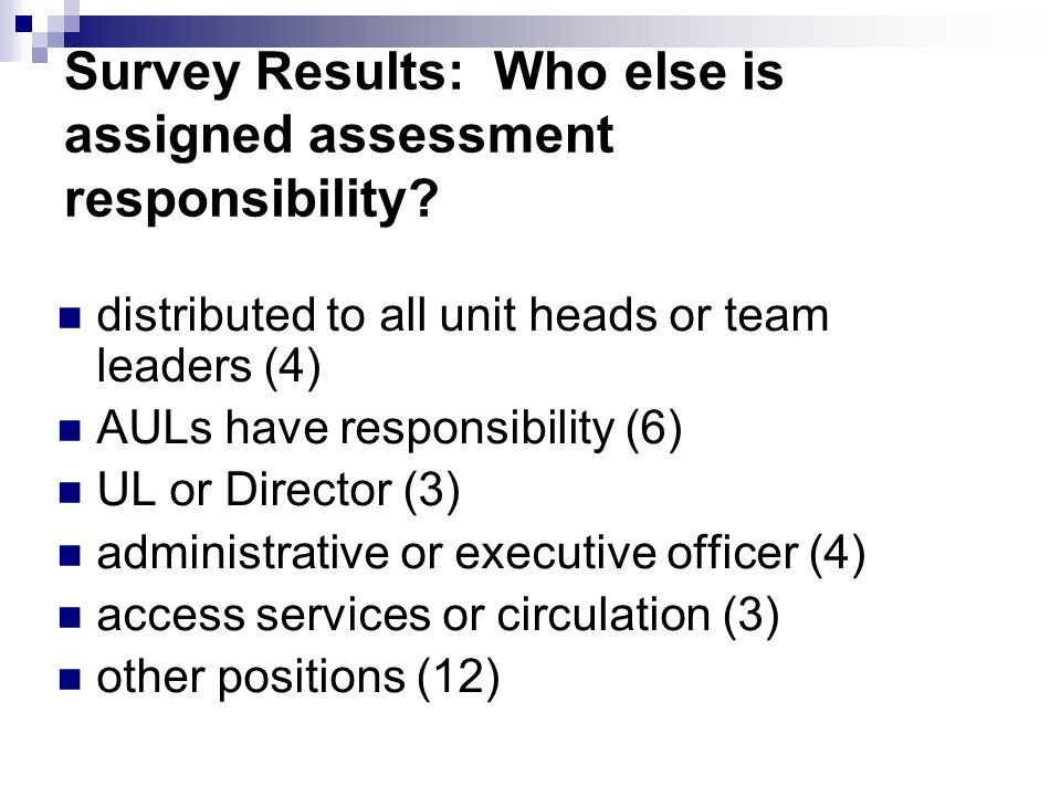Survey Results: Who else is assigned assessment responsibility? distributed to all unit heads or team leaders (4) AULs have responsibility (6) UL or D
