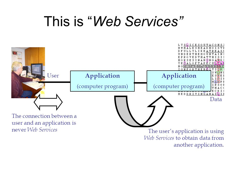 This is Web Services Application (computer program) User The connection between a user and an application is never Web Services Application (computer program) The users application is using Web Services to obtain data from another application.