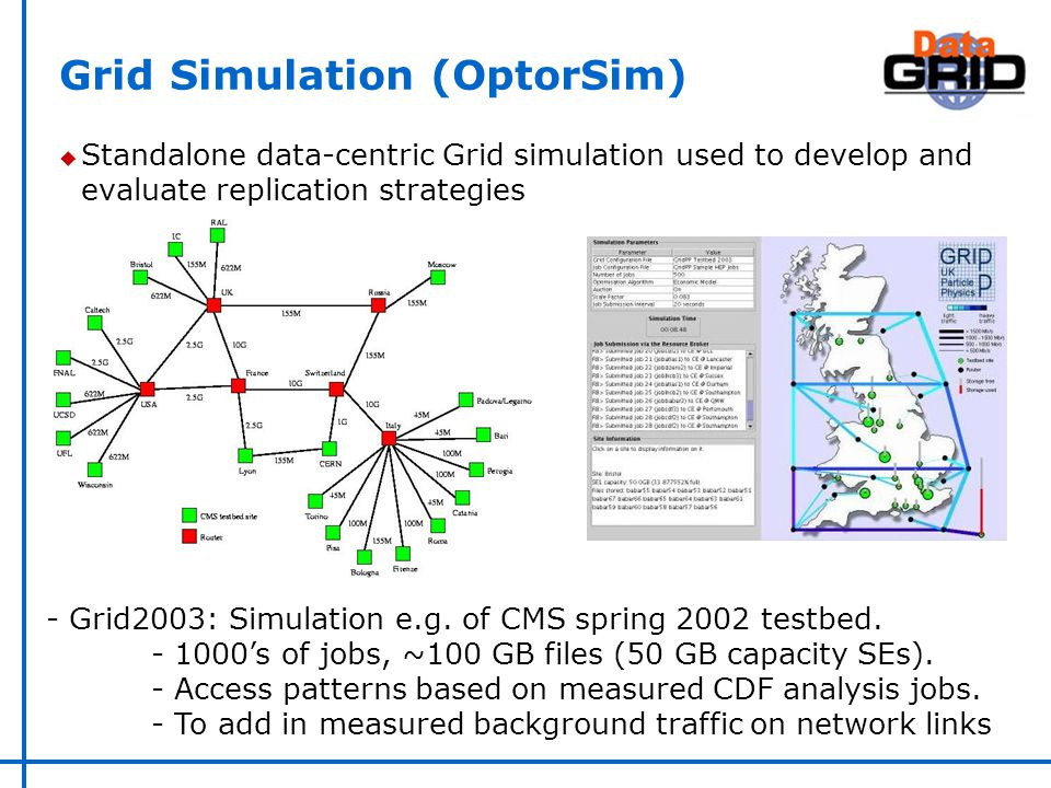 Grid Simulation (OptorSim) u Standalone data-centric Grid simulation used to develop and evaluate replication strategies - Grid2003: Simulation e.g.