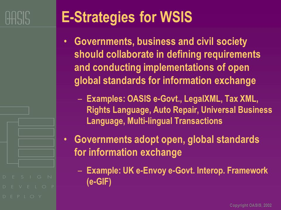 Copyright OASIS, 2002 E-Strategies for WSIS Governments, business and civil society should collaborate in defining requirements and conducting impleme