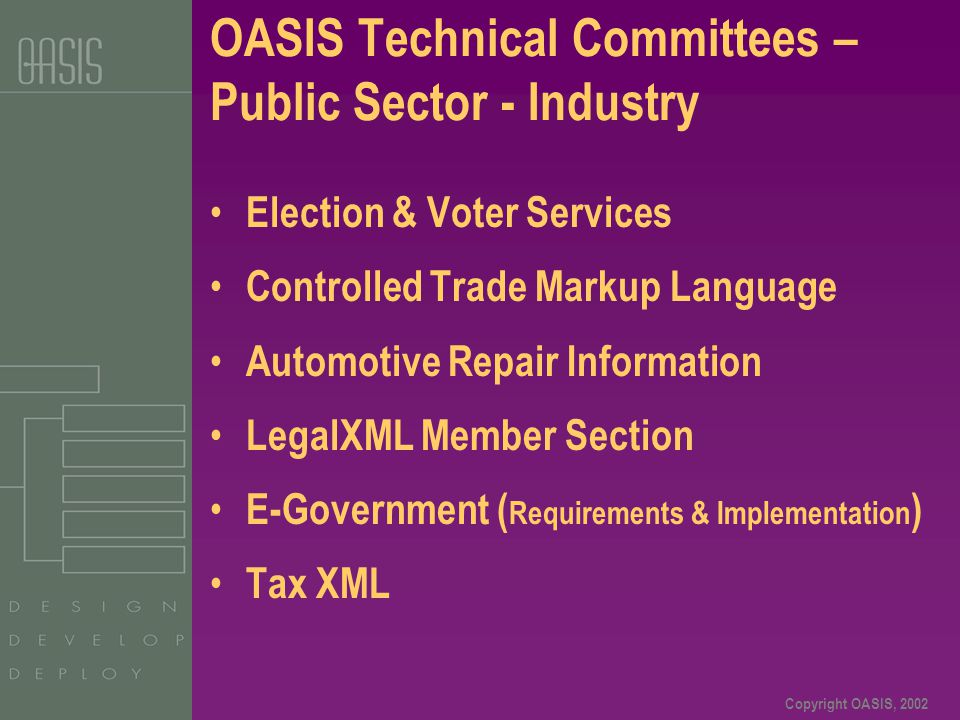 Copyright OASIS, 2002 OASIS Technical Committees – Public Sector - Industry Election & Voter Services Controlled Trade Markup Language Automotive Repa