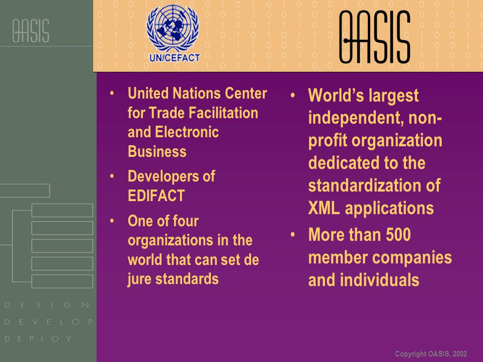 Copyright OASIS, 2002 United Nations Center for Trade Facilitation and Electronic Business Developers of EDIFACT One of four organizations in the worl