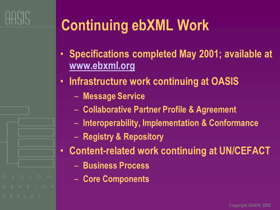 Copyright OASIS, 2002 Continuing ebXML Work Specifications completed May 2001; available at www.ebxml.org www.ebxml.org Infrastructure work continuing