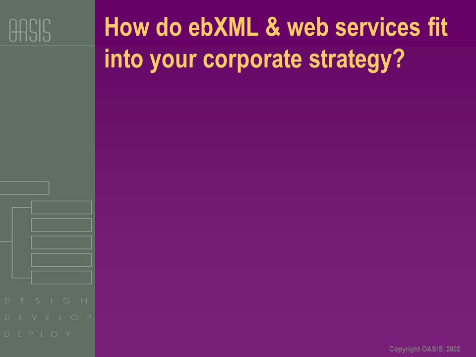 Copyright OASIS, 2002 How do ebXML & web services fit into your corporate strategy?