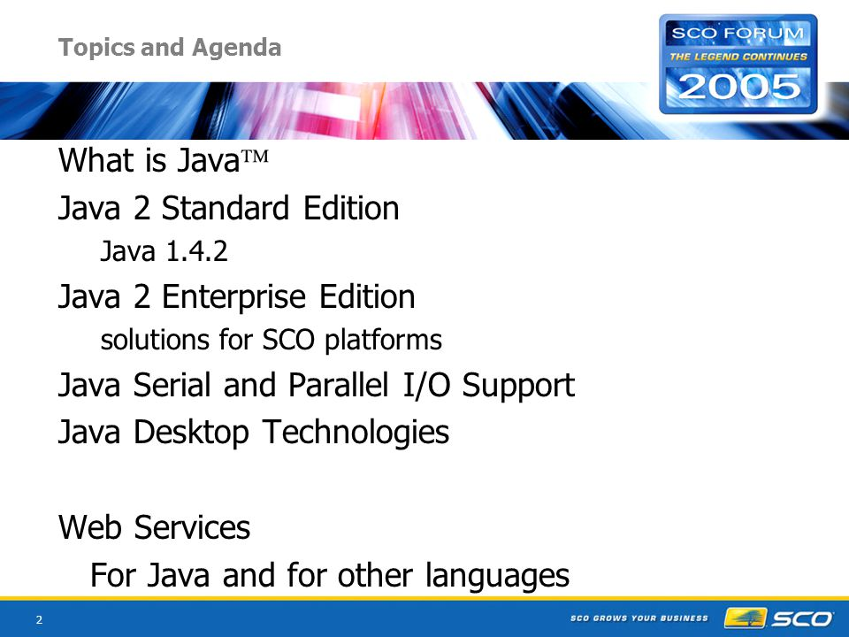 2 Topics and Agenda What is Java Java 2 Standard Edition Java 1.4.2 Java 2 Enterprise Edition solutions for SCO platforms Java Serial and Parallel I/O Support Java Desktop Technologies Web Services For Java and for other languages