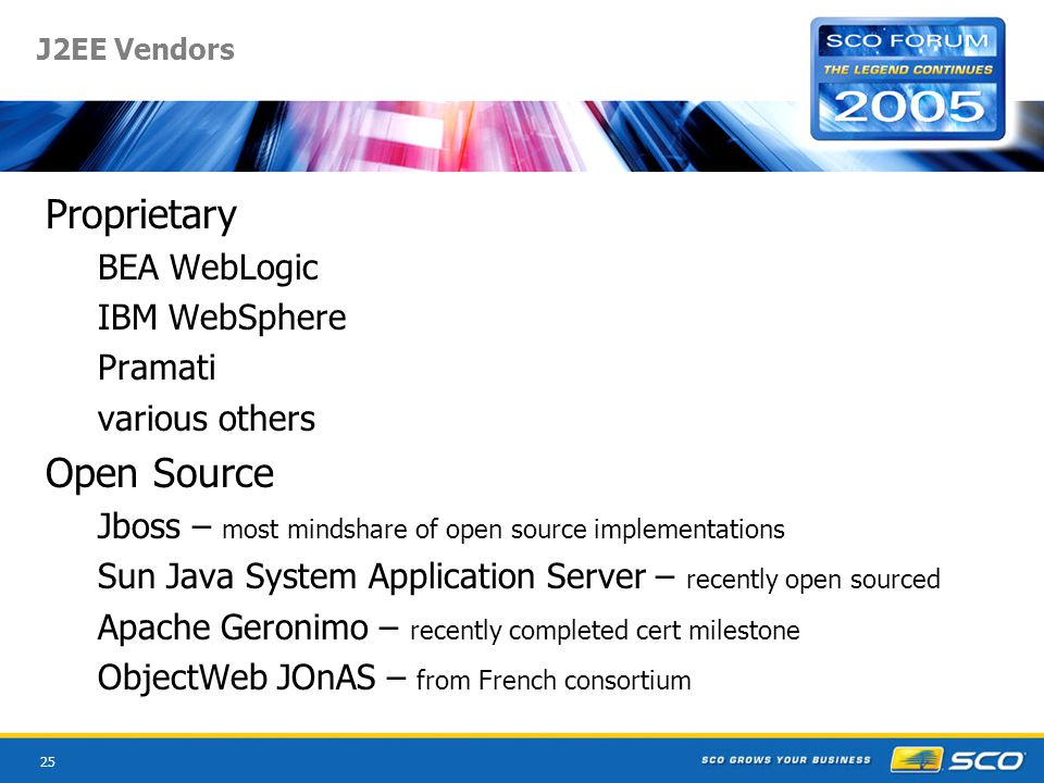 25 J2EE Vendors Proprietary BEA WebLogic IBM WebSphere Pramati various others Open Source Jboss – most mindshare of open source implementations Sun Java System Application Server – recently open sourced Apache Geronimo – recently completed cert milestone ObjectWeb JOnAS – from French consortium