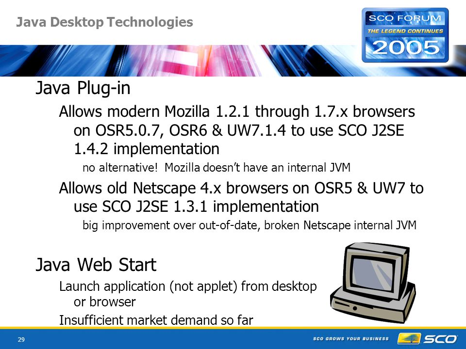 29 Java Desktop Technologies Java Plug-in Allows modern Mozilla 1.2.1 through 1.7.x browsers on OSR5.0.7, OSR6 & UW7.1.4 to use SCO J2SE 1.4.2 implementation no alternative.