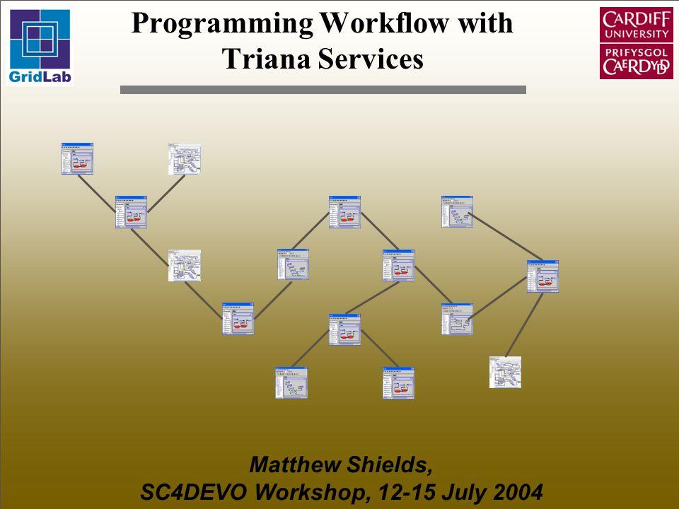 Programming Workflow with Triana Services Matthew Shields, SC4DEVO Workshop, 12-15 July 2004