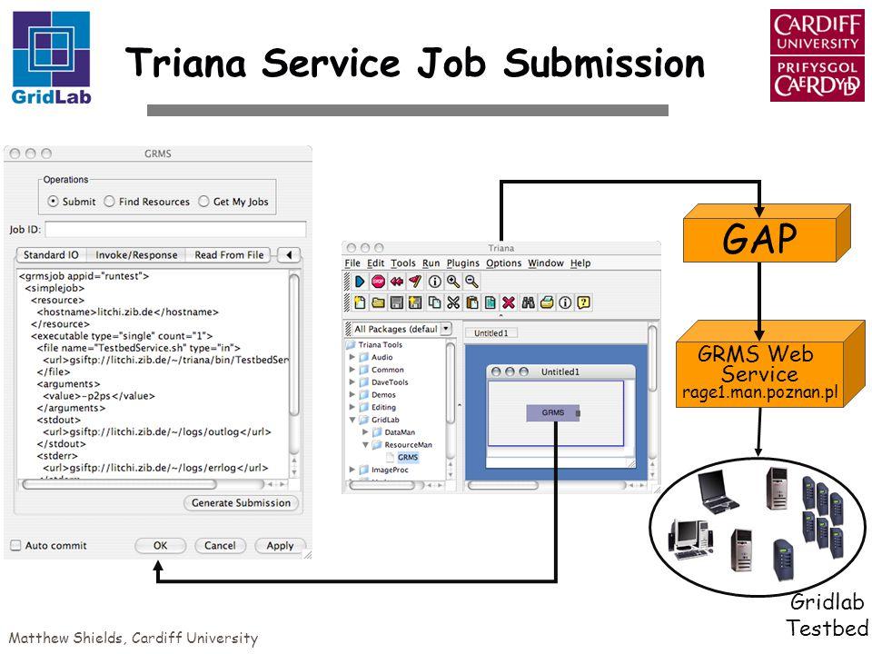 Matthew Shields, Cardiff University GRMS Web Service rage1.man.poznan.pl Gridlab Testbed GAP Triana Service Job Submission