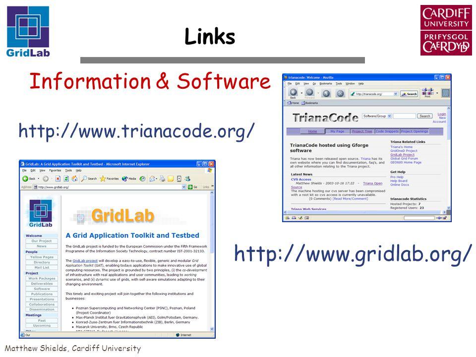 Matthew Shields, Cardiff University Information & Software http://www.trianacode.org/ http://www.gridlab.org/ Links