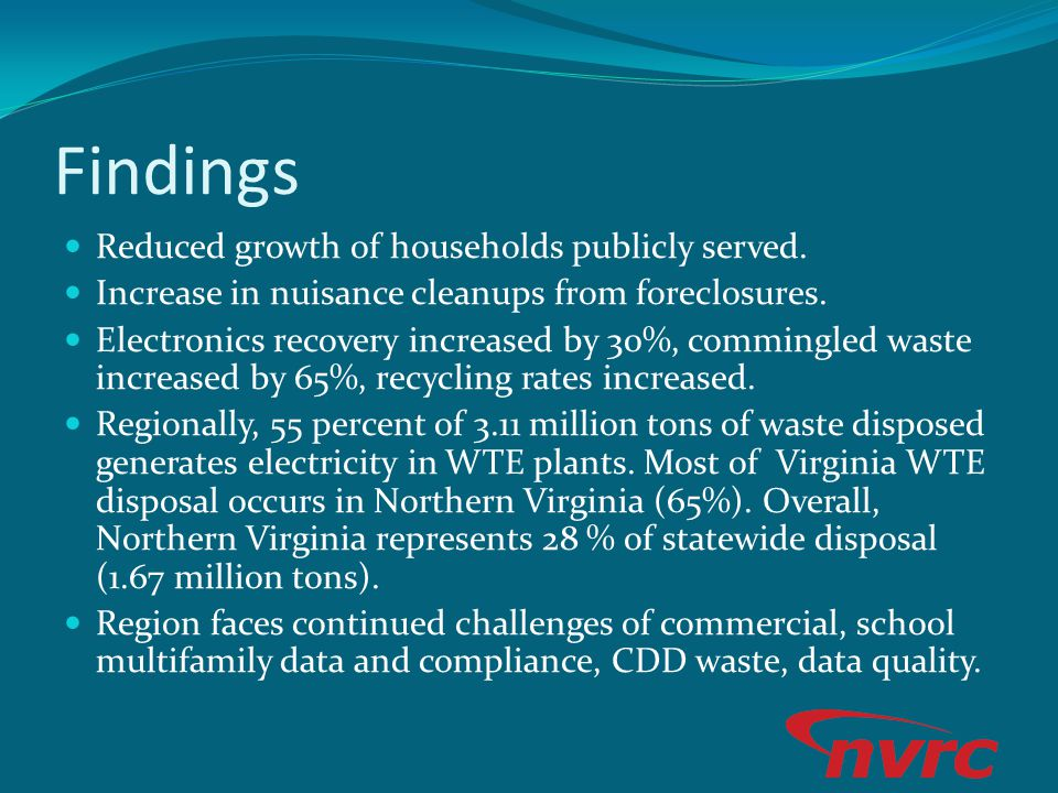 Findings Reduced growth of households publicly served. Increase in nuisance cleanups from foreclosures. Electronics recovery increased by 30%, comming