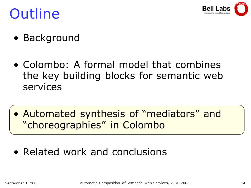 September 1, 2005 Automatic Composition of Semantic Web Services, VLDB 2005 14 Outline Background Colombo: A formal model that combines the key building blocks for semantic web services Automated synthesis of mediators and choreographies in Colombo Related work and conclusions
