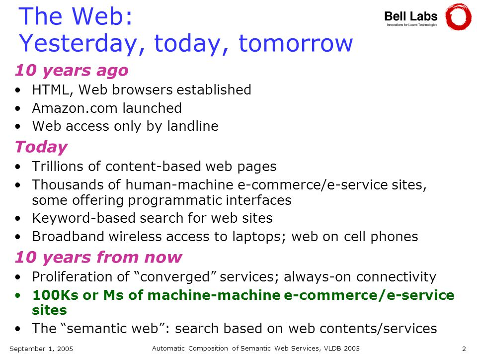 September 1, 2005 Automatic Composition of Semantic Web Services, VLDB 2005 2 The Web: Yesterday, today, tomorrow 10 years ago HTML, Web browsers established Amazon.com launched Web access only by landline Today Trillions of content-based web pages Thousands of human-machine e-commerce/e-service sites, some offering programmatic interfaces Keyword-based search for web sites Broadband wireless access to laptops; web on cell phones 10 years from now Proliferation of converged services; always-on connectivity 100Ks or Ms of machine-machine e-commerce/e-service sites The semantic web: search based on web contents/services
