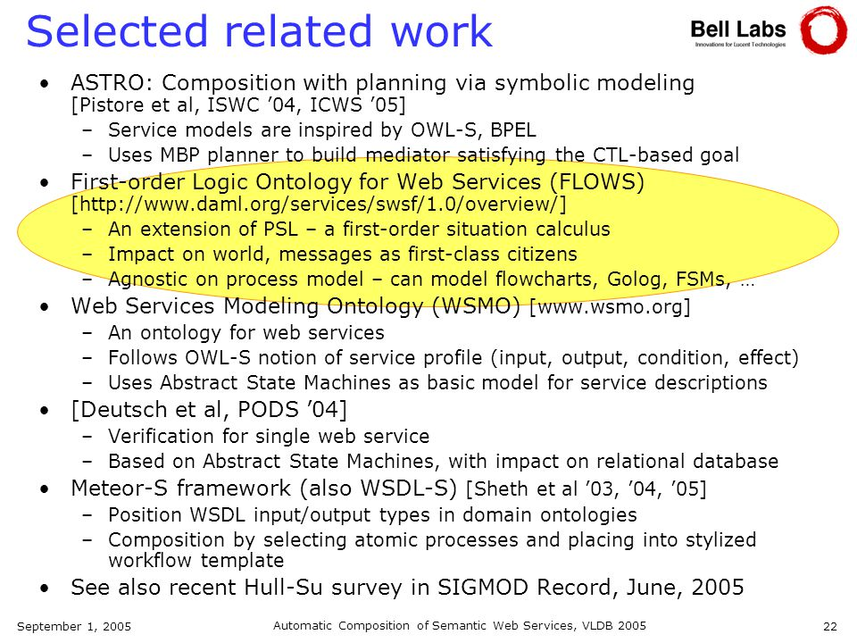 September 1, 2005 Automatic Composition of Semantic Web Services, VLDB 2005 22 Selected related work ASTRO: Composition with planning via symbolic modeling [Pistore et al, ISWC 04, ICWS 05] –Service models are inspired by OWL-S, BPEL –Uses MBP planner to build mediator satisfying the CTL-based goal First-order Logic Ontology for Web Services (FLOWS) [http://www.daml.org/services/swsf/1.0/overview/] –An extension of PSL – a first-order situation calculus –Impact on world, messages as first-class citizens –Agnostic on process model – can model flowcharts, Golog, FSMs, … Web Services Modeling Ontology (WSMO) [www.wsmo.org] –An ontology for web services –Follows OWL-S notion of service profile (input, output, condition, effect) –Uses Abstract State Machines as basic model for service descriptions [Deutsch et al, PODS 04] –Verification for single web service –Based on Abstract State Machines, with impact on relational database Meteor-S framework (also WSDL-S) [Sheth et al 03, 04, 05] –Position WSDL input/output types in domain ontologies –Composition by selecting atomic processes and placing into stylized workflow template See also recent Hull-Su survey in SIGMOD Record, June, 2005