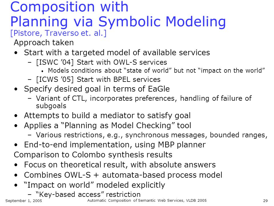 September 1, 2005 Automatic Composition of Semantic Web Services, VLDB 2005 29 Composition with Planning via Symbolic Modeling [Pistore, Traverso et.