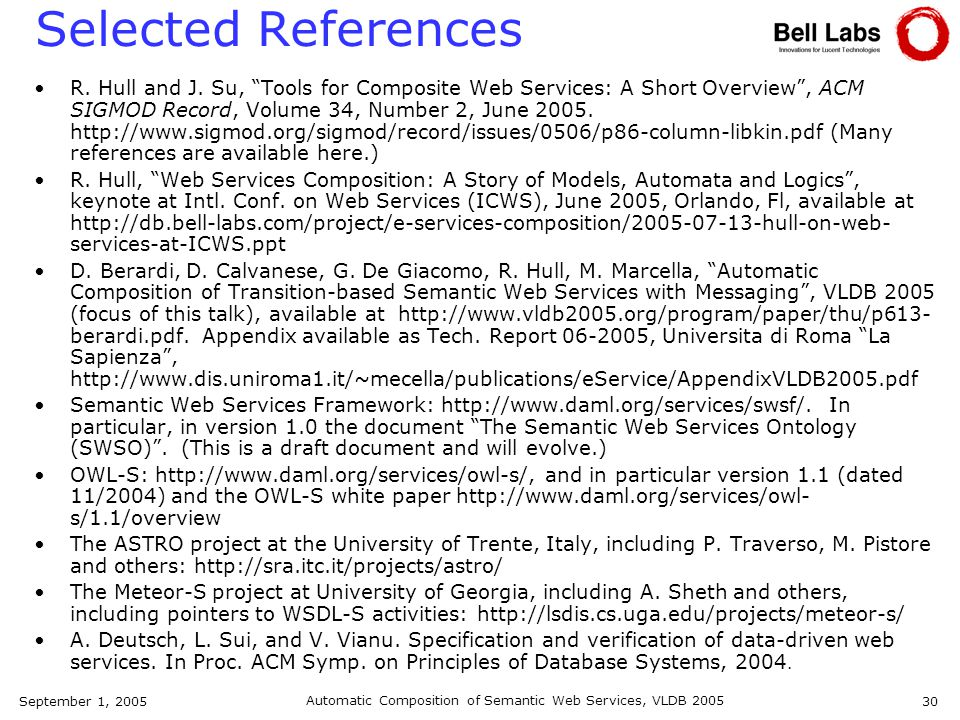 September 1, 2005 Automatic Composition of Semantic Web Services, VLDB 2005 30 Selected References R.