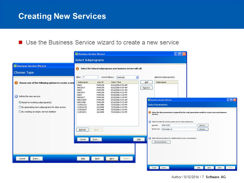 Author / 6/12/2014 / 8 Software AG Testing services Browse the repository to locate a service Use the test feature to supply data and invoke a method