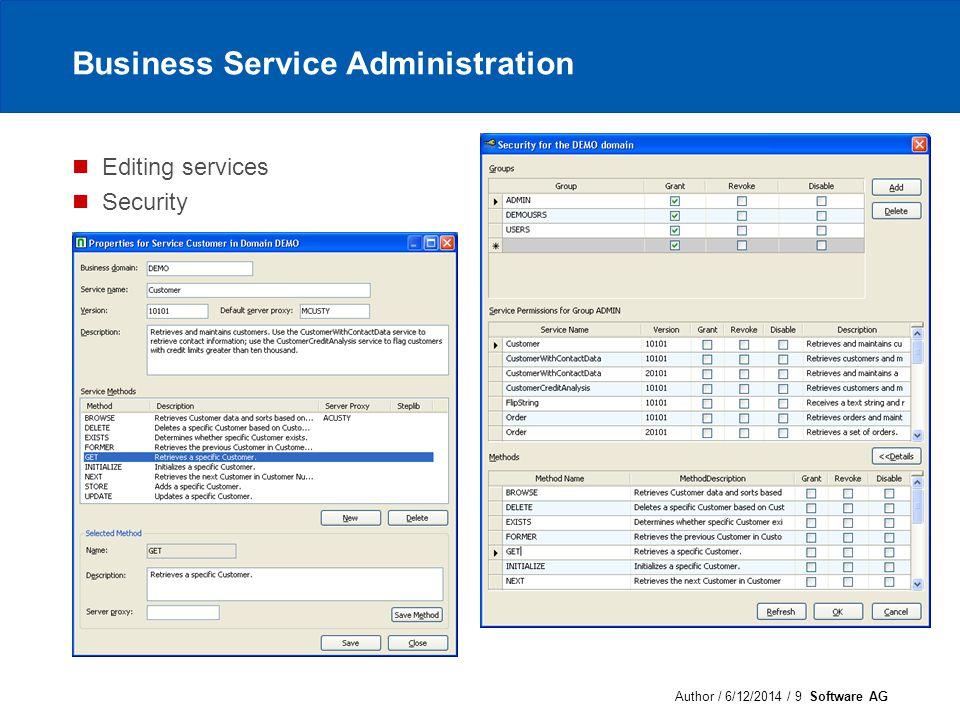Author / 6/12/2014 / 10 Software AG Business Service Administration (cont) Audit trail Configuration