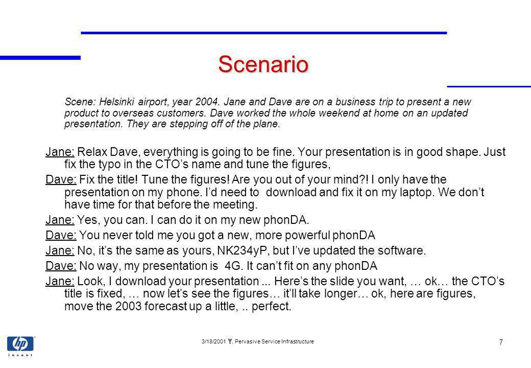 3/18/2001, Pervasive Service Infrastructure 7 Scenario Scene: Helsinki airport, year 2004.